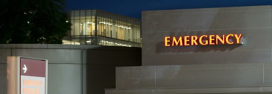 Signs for local emergency entrace of the hospital