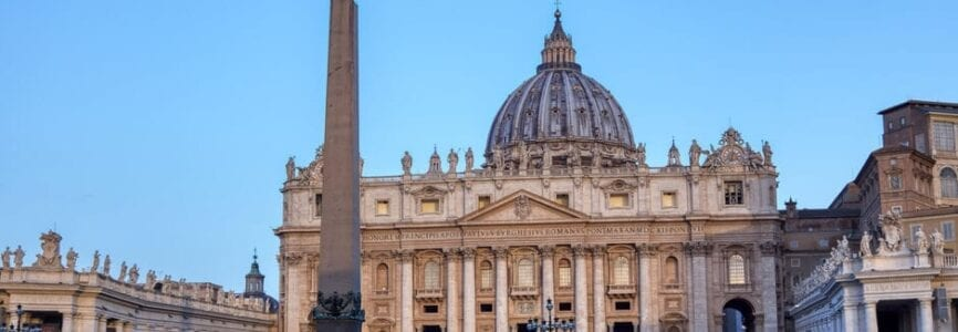 St. Peter's Square in Vatican City at dawn - Rome, Italy.