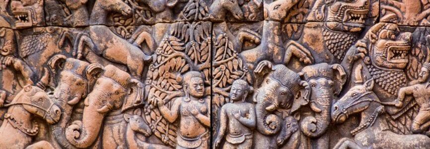 Krishna and Balarama ancient carving, Angkor
