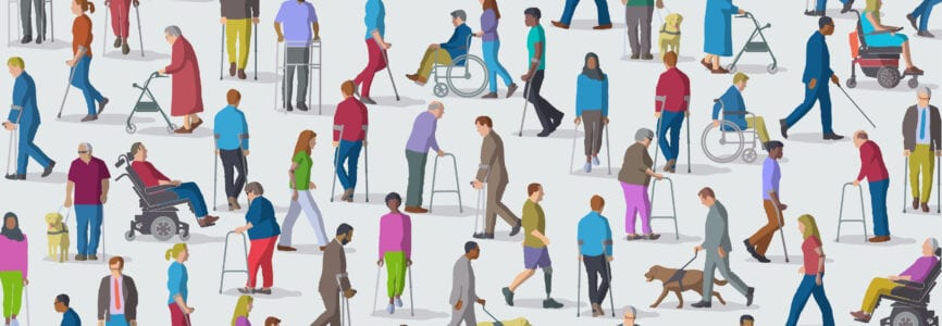 Large group of people representing a diverse range of Disabilities in society