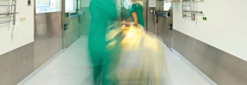 blurred emergency hospital bed