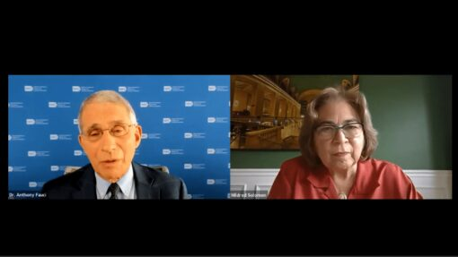 Screenshot of Dr. Anthony Fauci and Mildred Solomon