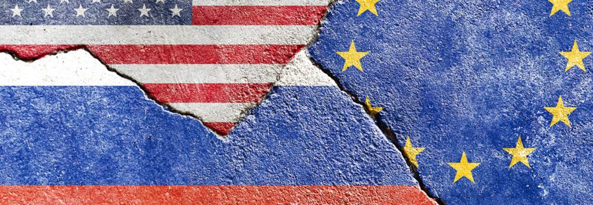 Faded USA VS Russia VS EU (European Union) flags icon isolated on broken weathered cracked concrete wall background, abstract international political relationship conflict painted texture wallpaper