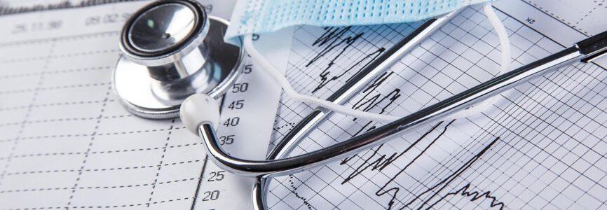 Medical mask and chart. Coronavirus statistics of daily growth