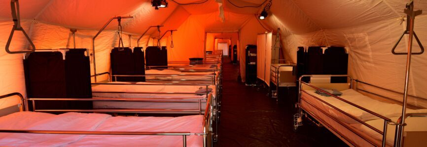 Mandatory Credit: Photo by IGOR KUPLJENIK/EPA-EFE/Shutterstock (10586332p) View of mobile hospital tents with a total capacity for 120 beds set up by the Slovenian Army at the Edvard Peperko Barracks in Ljubljana, Slovenia, 17 March 2020. The Slovenian government has halted public transport and shut down most shops in a bid to slow down the spread of the COVID-19 disease caused by the SARS-CoV-2 coronavirus. Slovenia, a tiny country of just over 2 million inhabitants that borders the coronavirus hotspot of northern Italy, has recorded at least 253 confirmed cases of the disease, with no deaths reported so far. Coronavirus containment efforts in Slovenia, Ljubljana - 17 Mar 2020